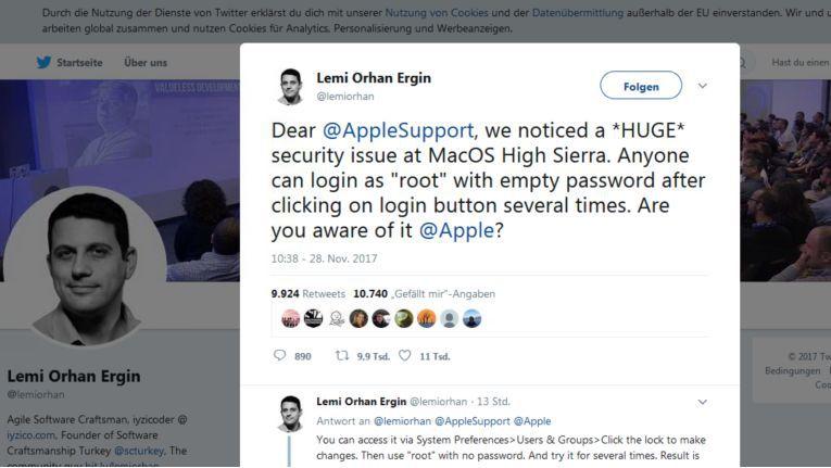 """Der Computer-Experte Lemi Orhan Ergin hat via Twitter eine große Sicherheitslücke im MacOS-System """"High Sierra"""" bekanntgegeben."""