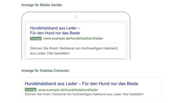 Mögliche AdWords Anzeige auf Desktop-Computer und Mobile Geräten zu Hundeleinen aus Leder