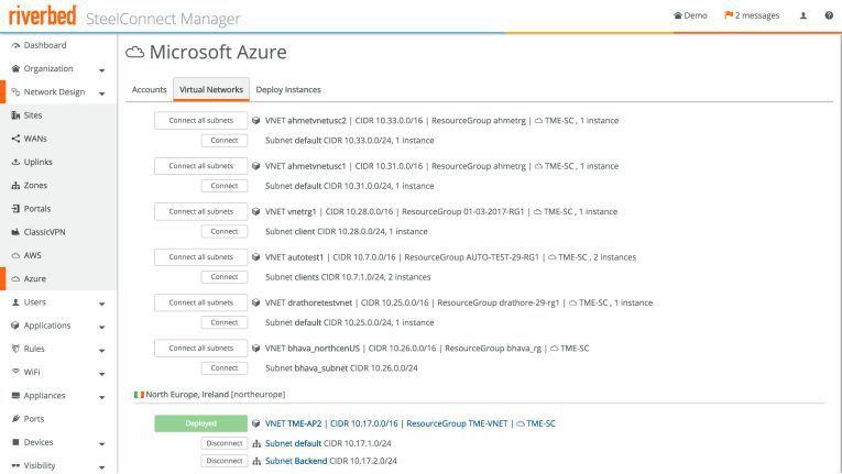 Die Oberfläche von Riverbed SteelConnect für den Zugriff auf Microsoft Azure.