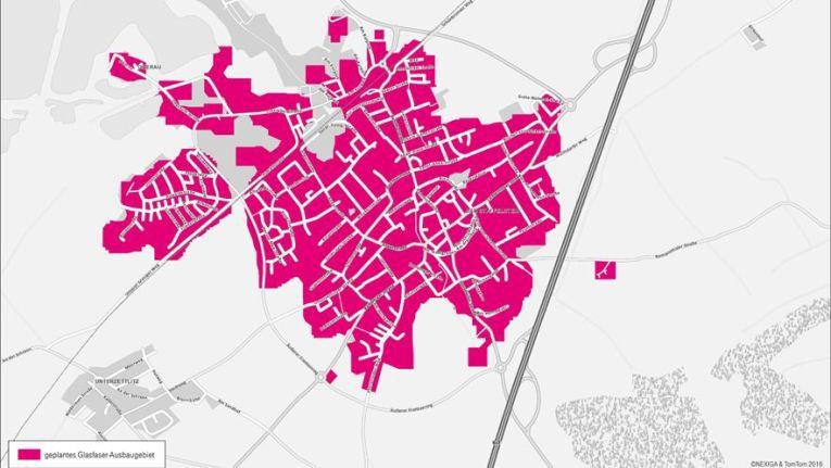 Die für den FTTH-Ausbau vorgesehenen Teile der Kernstadt von Bad Staffelstein.