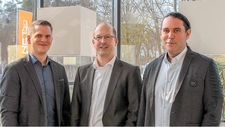 Von links: Benedikt Kisner, André Hüttemann und Patrick Kruse bilden die neue Geschäftsführung der Netgo GmbH.