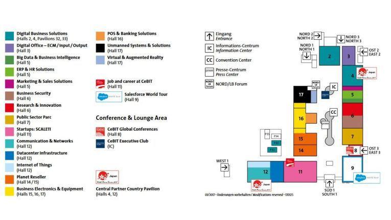 Hallenplan der CeBIT 2017, der letzten Business-Messe vor dem Digitalfestival 2018.