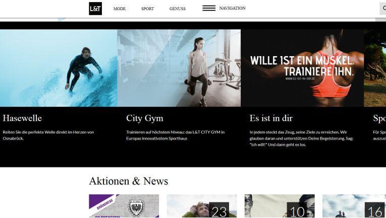 Auch auf der Website präsentiert sich das Kaufhaus L&T als eine Kombination aus Einkaufsparadies und City-Gym.