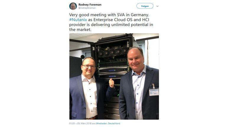 Nutanix-Manager Rodney Foreman berichtete Ende März bei Twitter über seinen Antrittsbesuch bei den deutschen Top-Partnern, hier bei SVA Systemvertrieb Alexander in Wiesbaden.