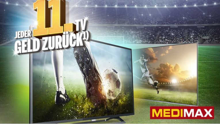 """""""Jeder 11. TV Geld zurück"""", heißt die Medimax-Aktion zur Fussball-WM 2018"""