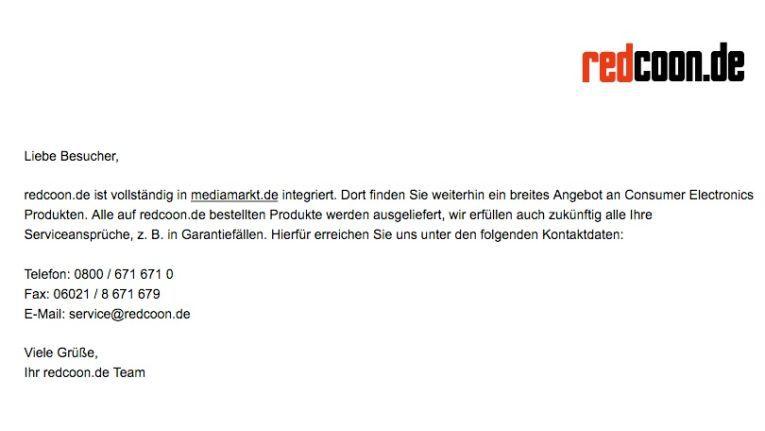 Auf Redcoon.de findet sich nurmehr eine Abschiedsnachricht