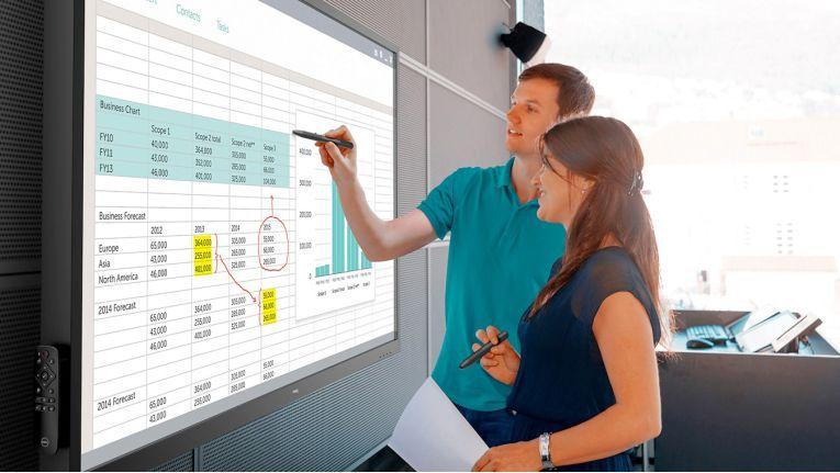 Bei Dell Displays mit InGlass-Technologie können mehrere Benutzer gleichzeitig mit dem Display arbeiten.