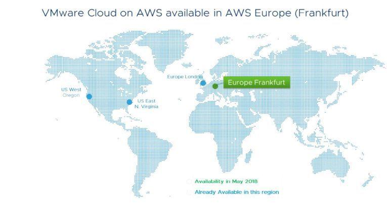 """Seit Anfang Juni 2018 ist """"VMware Cloud on AWS"""" auch in Deutschland verfügbar - in einem AWS-Rechenzentrum in Frankfurt."""