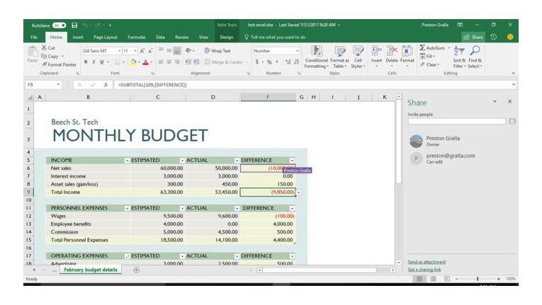 Die Echtzeit-Zusammenarbeit in Excel wird voraussichtlich in Office 2019 verfügbar sein.