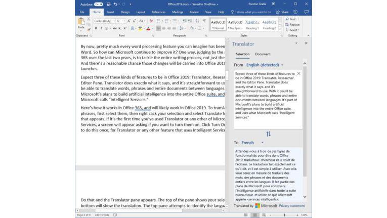 Das Übersetzungs-Tool wird nach Office 365 wohl auch in Office 2019 enthalten sein.