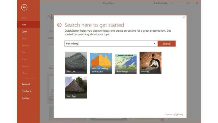 QuickStarter hilft Ihnen bei der Erstellung einer neuen Präsentation.