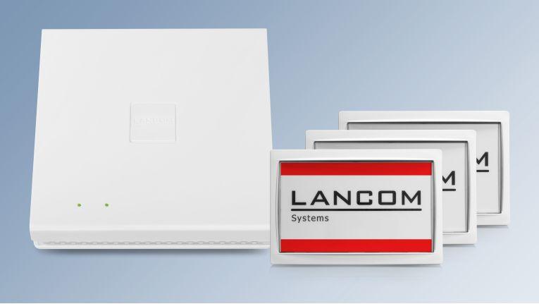 Die Wireless ePaper Displays von Lancom lassen sich mit der patentierten Integration mehrerer Funktechnologien in den WLAN Access Points der E-Serie von Lancom nun einfacher und störungsärmer in WLAN-Infrastrukturen einbinden.