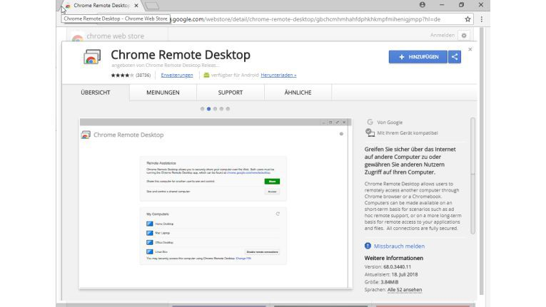 Die App Chrome Remote Desktop findet sich im Chrome Web Store zum kostenlosen Download.