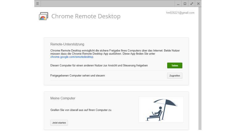 """Chrome Remote Desktop: Hier entscheiden Sie, ob Sie Ihren Bildschirm """"Teilen"""" oder auf einen anderen """"Zugreifen"""" wollen."""