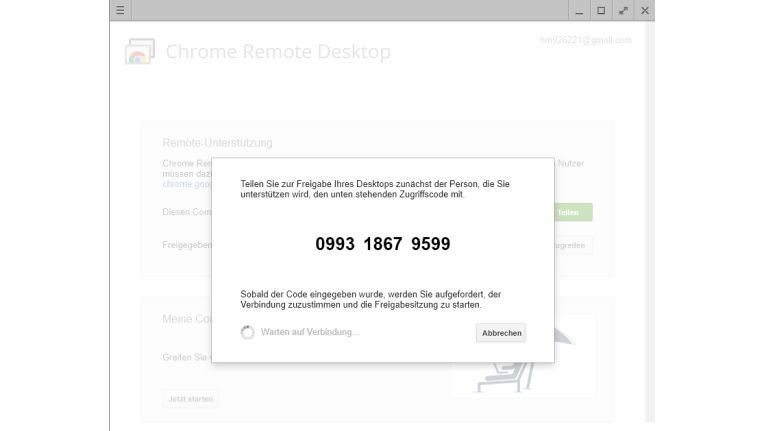Chrome Remote Desktop: Mit dem Zugriffscode nehmen Sie Verbindung mit einem entfernten PC auf.