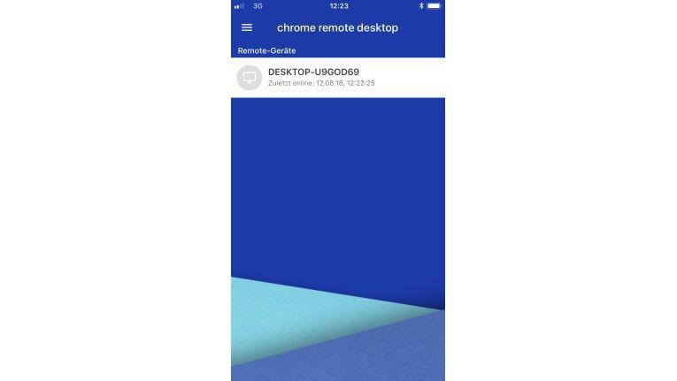 Chrome Remote Desktop auf dem Smartphone. Die App zeigt verfügbare Verbindungen in einer Liste an.