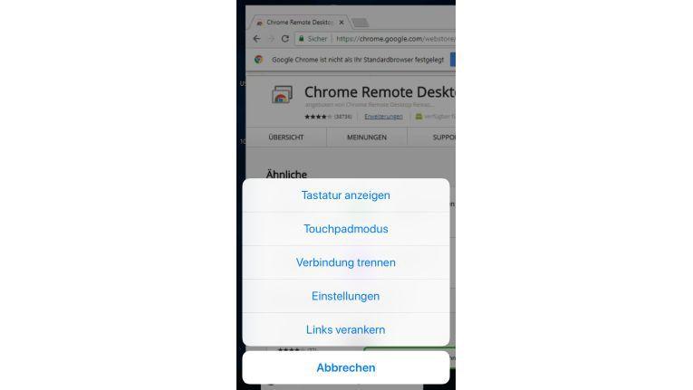 Bei einer aktiven Remote-Verbindung bietet die App verschiedene Einstellmöglichkeiten.