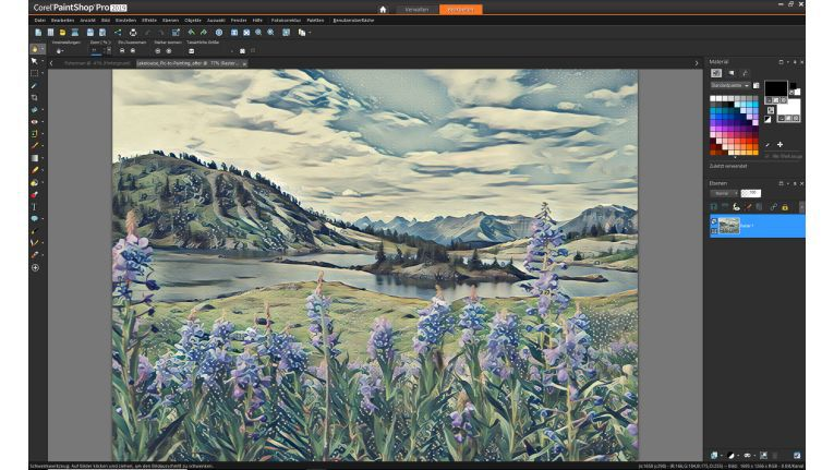 PaintShop Pro 2019: Das Zusatzprogramm Pic-to-Painting wandelt Fotos in Bilder um, die an Gemälde erinnern.
