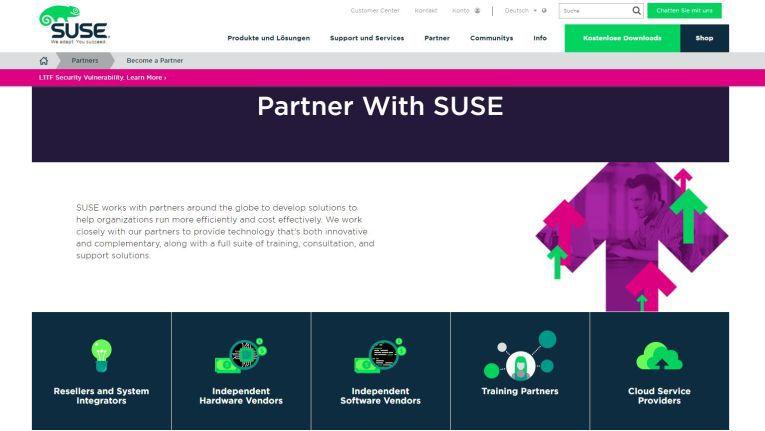 Das Suse-Partner-Portal. Der Linux-Spezialist unterscheidet zwischen Resellern, Managed und Cloud Service Providern, Distributoren, Systemintegratoren und Systemhäusern.