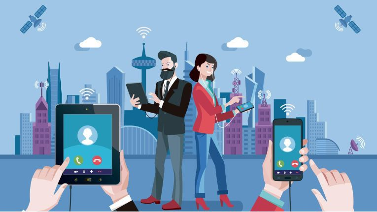 VoIP technology. Man and woman having a conversation through mobile and tablet using VoIP technology. IP telephony illustration concept.