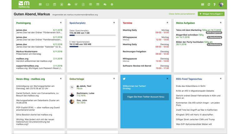 Die im November 2018 neu gestaltete und technisch verbesserte Oberfläche von Mailbox.org.