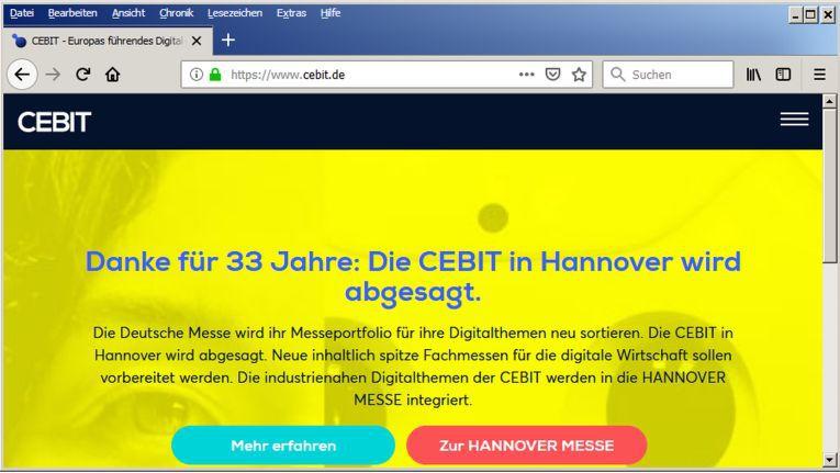 Ein knapper Abschiedsgruß der Cebit unter www.cebit.de.