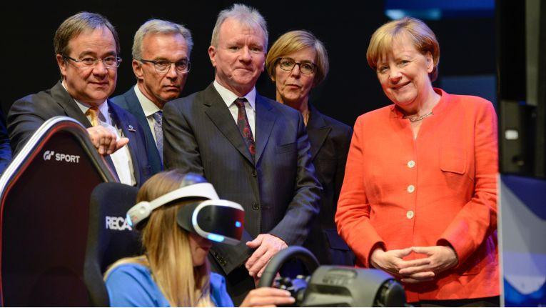 Bundeskanzlerin Merkel bei ihrem Besuch auf der Gamescom in Köln 2017.