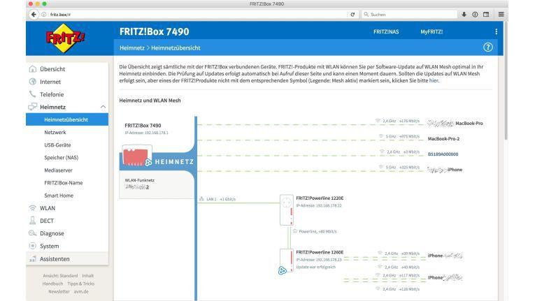 Die Heimnetzübersicht der Fritzbox gibt einen Überblick über alle verbundenen Geräte und dient auch dazu, die Updates zu installieren.