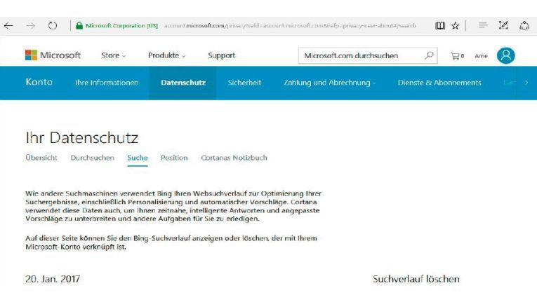 Microsoft lässt Sie etliche Daten in Ihrem Microsoft-Konto einsehen und auch löschen. Dafür müssen Sie sich online in Ihrem Microsoft-Log-in anmelden.