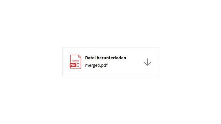 Nach einen Klick auf PDFs zusammenführen, erhalten Sie über Datei herunterladen eine Downloadmöglichkeit.