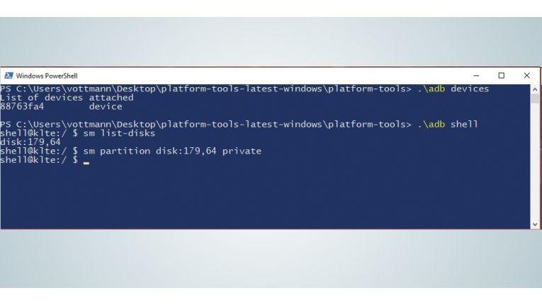Um die Speicherkarte zum internen Speicher hinzuzufügen, sind die ADB und einige Shell-Befehle nötig.
