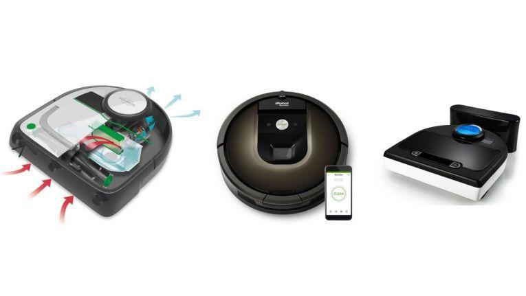 Von links nach rechts: Der kletterfreudige Vorwerk Kobold VR200, iRobot Roomba 980, dessen Kartendaten iRobot verkaufen will, und Neato Botvac D85.