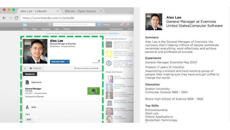 Der Evernote Web Clipper extrahiert sogar von LinkedIn sauber Inhalte.