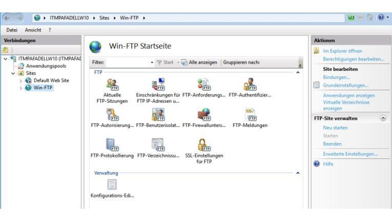 In diesem Bereich erstellen Sie neue FTP-Server und legen auch die Sicherheitsoptionen fest, etwa ob eine SSL-Verschlüsselung und eine Benutzerauthentifizierung nötig sind.