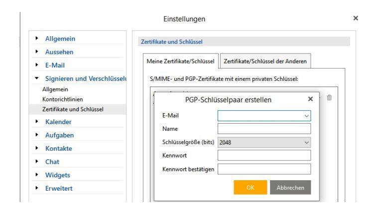 Das Anlegen eines neuen PGP-Schlüssels ist mit wenigen Klicks erledigt. Anschließend müssen Sie nur noch die Schlüssel Ihrer Kontakte importieren.