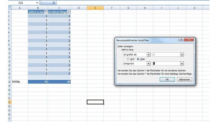 Tabellen filtern und sortieren