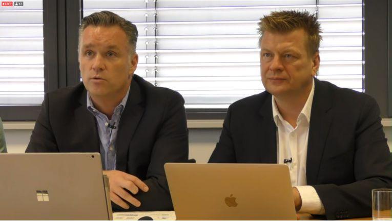 Achim Weiß, Chief Executive Officer bei 1&1 IONOS (rechts) und Dr. Christian Böing, Chief Revenue Officer bei 1&1 IONOS (links).