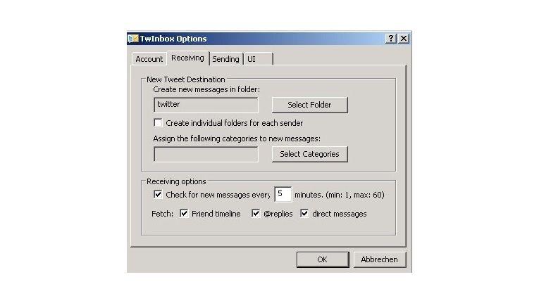 TwInbox konfigurieren
