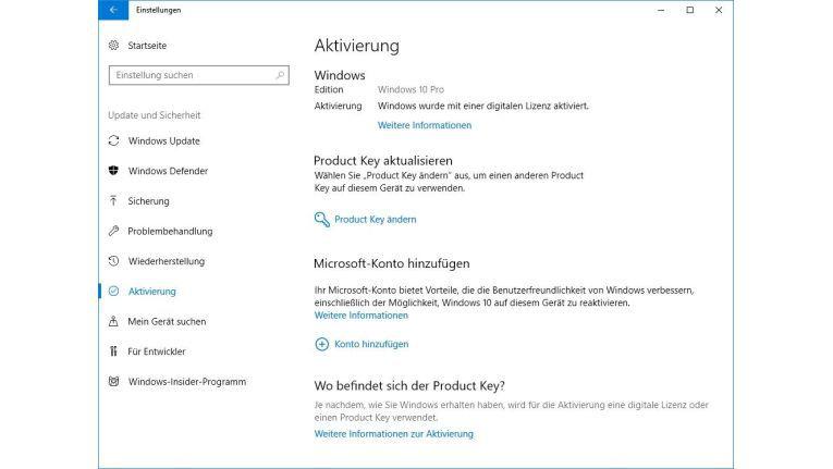 In den Einstellungen von Windows sehen Sie, ob Windows 10 überhaupt schon aktiviert wurde.