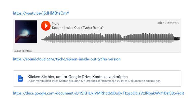 In Paper lassen sich auch Dokumente aus Google Drive verknüpfen oder Soundcloud-Tracks einbinden.