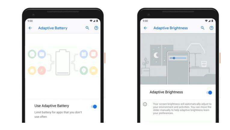 Die neuen Funktionen Adaptive Battery und Adaptive Brightness