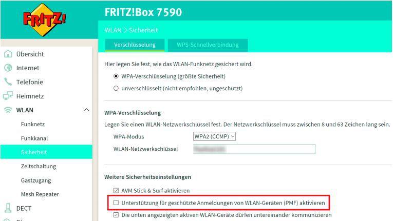 Die Fritzbox 7490 und 7590 bekommen mit dem neuen Fritz-OS das Sicherheitsverfahren Protected Management Frames. Es lässt sich im Menü aktivieren.