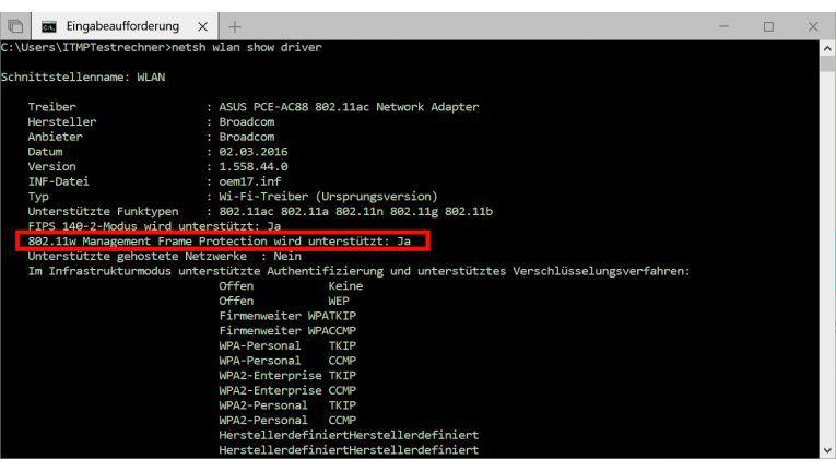 Per Eingabeaufforderung prüfen Sie bei einem Windows-Rechner, ob er die PMFFunktion unterstützt und mit der neuen Fritzbox-Funktion zusammenspielt.