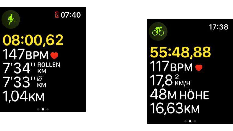 Auch beim Lauf- (links) und Fahrradtraining (rechts) bekommt man mehr Informationen.