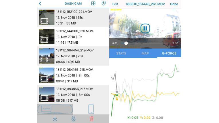 Die App: Links eine Liste der Videosequenzen, rechts ein konkretes Video daraus.
