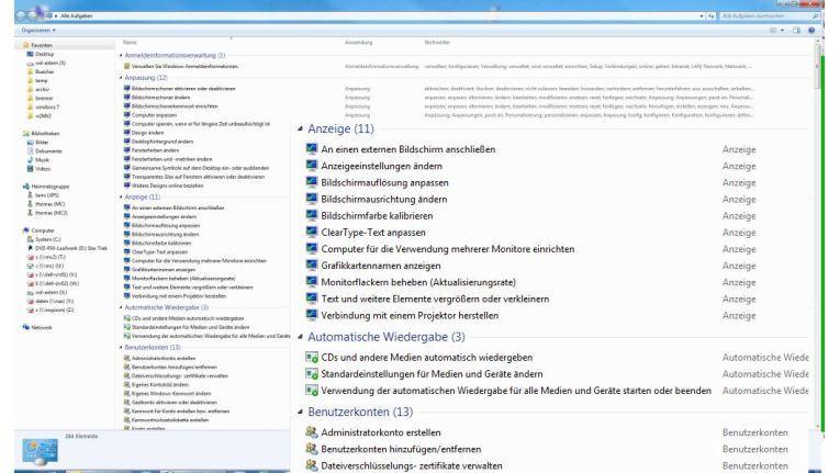 Godmode: Die Anzeige der Programme der Systemsteuerung im Explorer-Fenster.