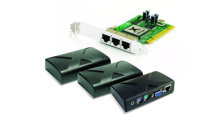 Die X300-Lösung von NComputing: PCI-Karte für den Host-Rechner und drei Client-Schnittstellen-Boxen