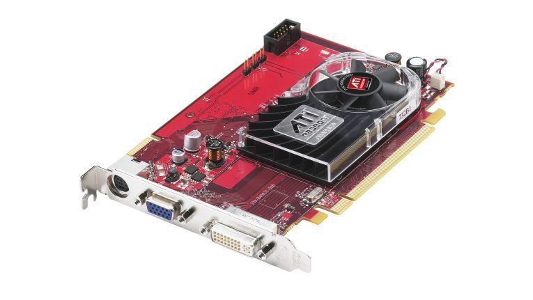 Die Hybrid- Crossfire-fähige Grafikkarte ATI Radeon HD3470 von AMD