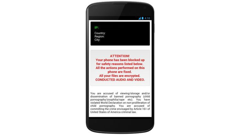 Der Trojaner in Aktion: Das Android-Smartphone ist nicht mehr sinnvoll nutzbar.