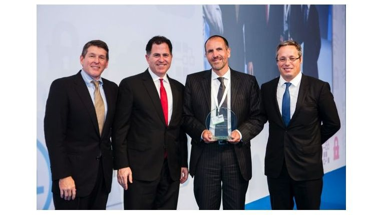 (v.l.): Greg Davis (VP und General Manager Dell Global Channels), Michael Dell, Dr. Thomas Kretzberg (Vorstand der Networkers AG) und Laurent Binetti (General Manager EMEA Dell Channel Sales).